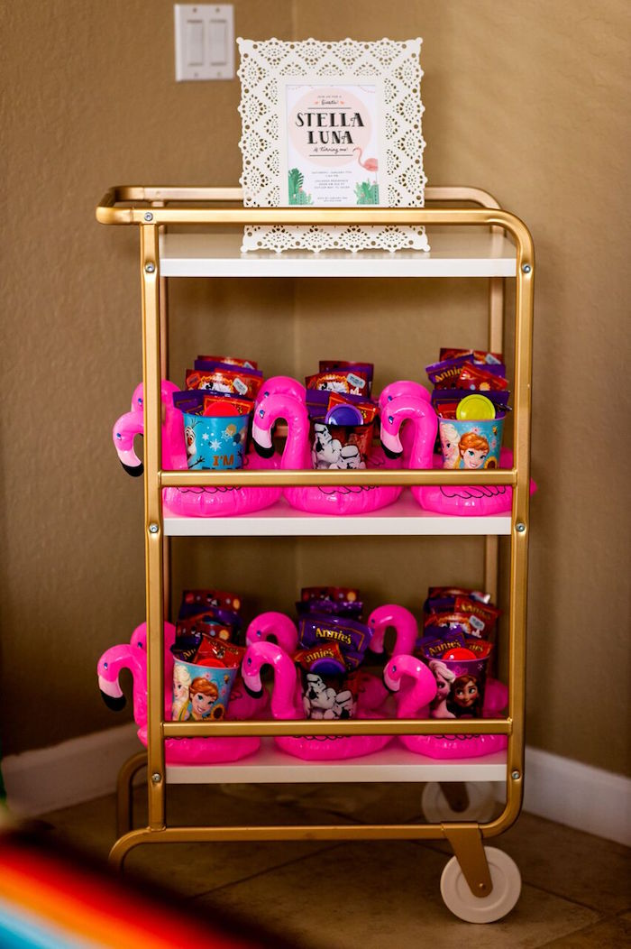 Flamingo favors from a Cactus & Flamingo First Birthday Fiesta on Kara's Party Ideas | KarasPartyIdeas.com (15)