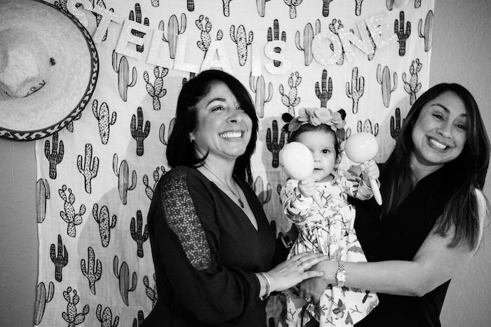 Cactus photo backdrop from a Cactus & Flamingo First Birthday Fiesta on Kara's Party Ideas | KarasPartyIdeas.com (9)