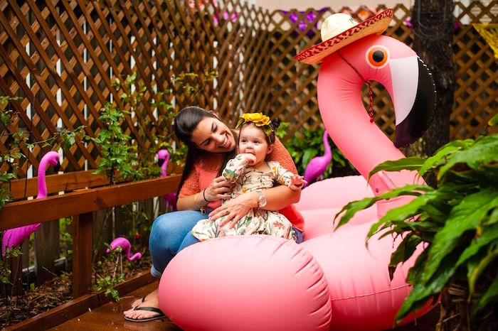 Inflatable flamingo from a Cactus & Flamingo First Birthday Fiesta on Kara's Party Ideas | KarasPartyIdeas.com (8)