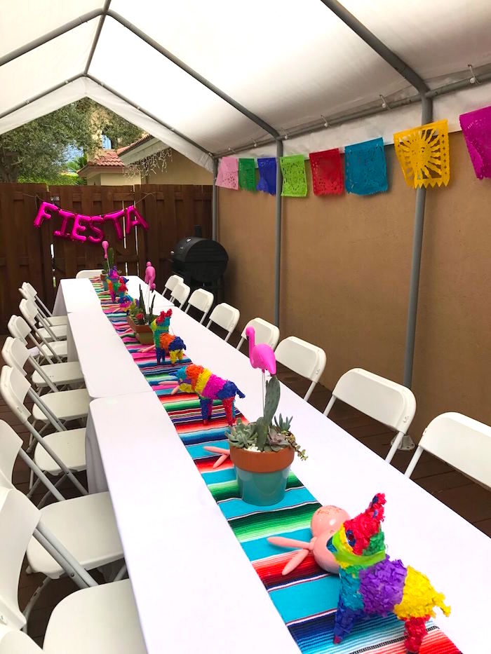 Guest table from a Cactus & Flamingo First Birthday Fiesta on Kara's Party Ideas | KarasPartyIdeas.com (7)