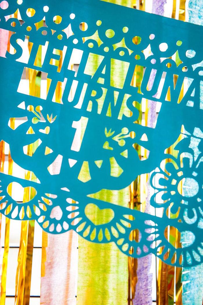 Custom fiesta banner from a Cactus & Flamingo First Birthday Fiesta on Kara's Party Ideas | KarasPartyIdeas.com