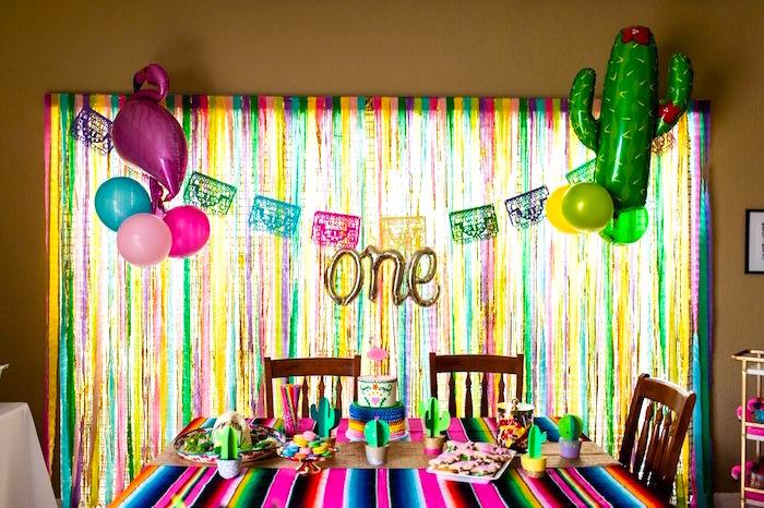 Cake + dessert table from a Cactus & Flamingo First Birthday Fiesta on Kara's Party Ideas | KarasPartyIdeas.com (29)