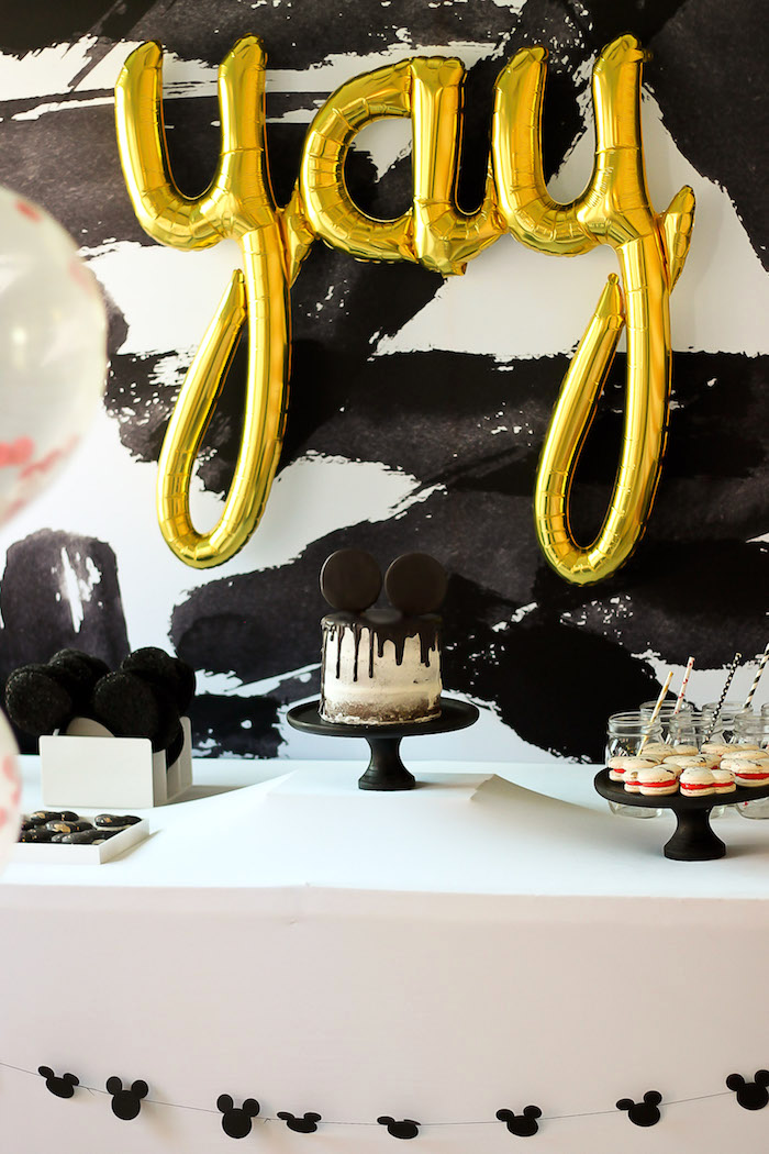 Mickey Mouse cake table from a Classic Mickey Mouse Birthday Party on Kara's Party Ideas | KarasPartyIdeas.com (10)