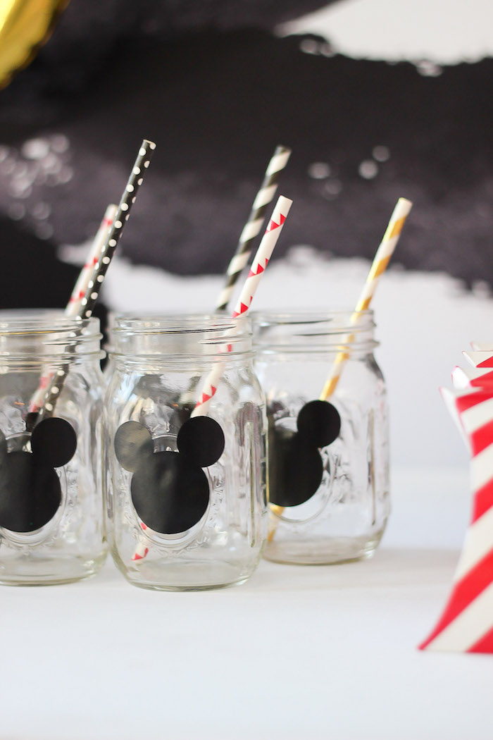 Mickey Mouse mason jar drink bottles from a Classic Mickey Mouse Birthday Party on Kara's Party Ideas | KarasPartyIdeas.com (15)