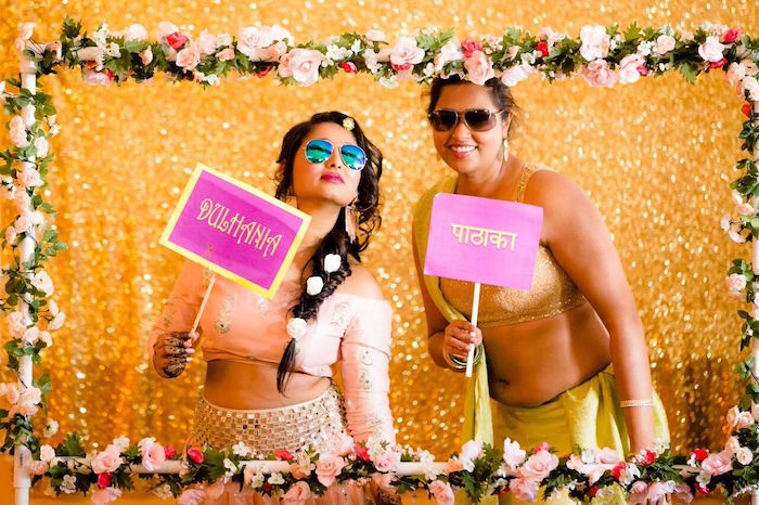 Floral photo booth from a Colorful Henna Bridal Shower Ceremony on Kara's Party Ideas | KarasPartyIdeas.com (6)