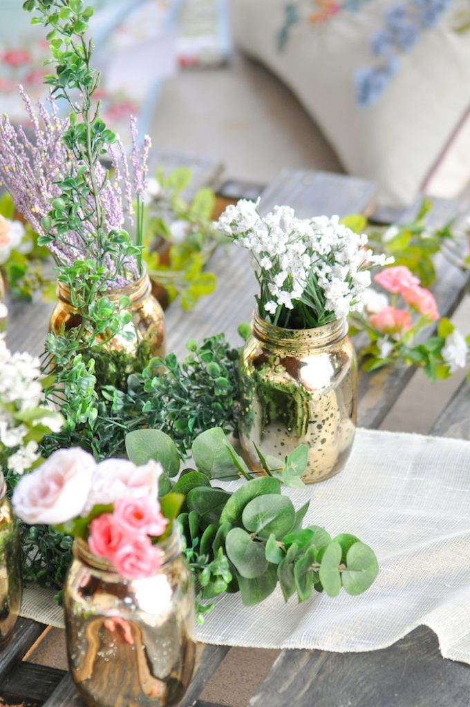 Floral centerpieces Gorgeous Tablescape from Floral Garden Bridal Shower via Kara's Party Ideas