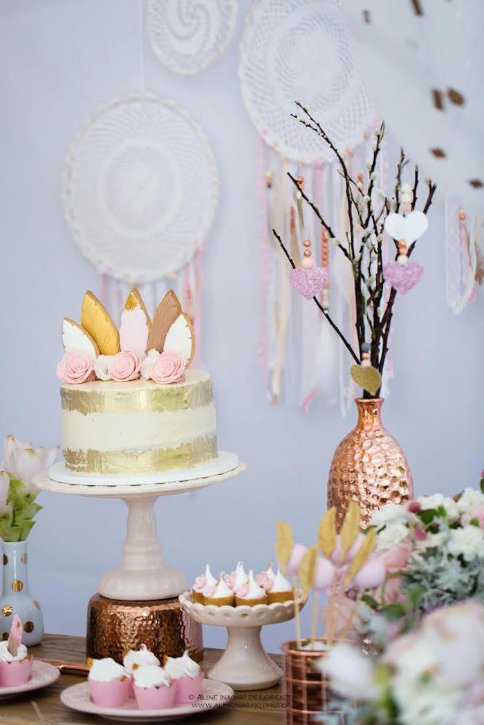 Cakescape from a Dreamy Dream Catcher Birthday Party on Kara's Party Ideas | KarasPartyIdeas.com (10)