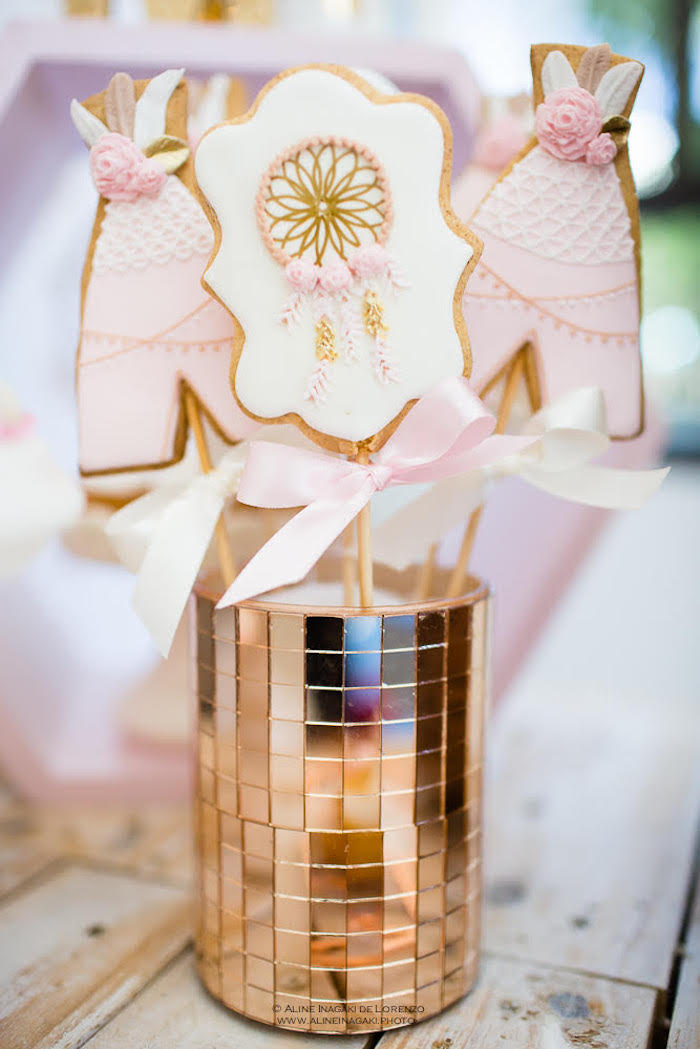 Cookies with gold mirrored vase from a Dreamy Dream Catcher Birthday Party on Kara's Party Ideas | KarasPartyIdeas.com (5)