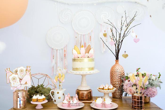 Dessert table from a Dreamy Dream Catcher Birthday Party on Kara's Party Ideas | KarasPartyIdeas.com (20)