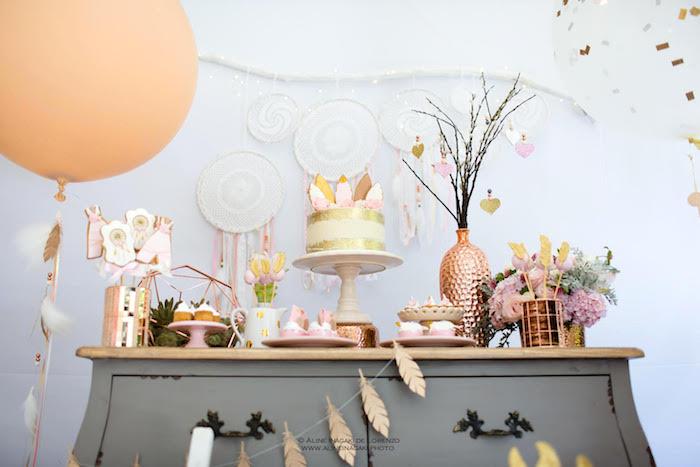 Dessert table from a Dreamy Dream Catcher Birthday Party on Kara's Party Ideas | KarasPartyIdeas.com (17)