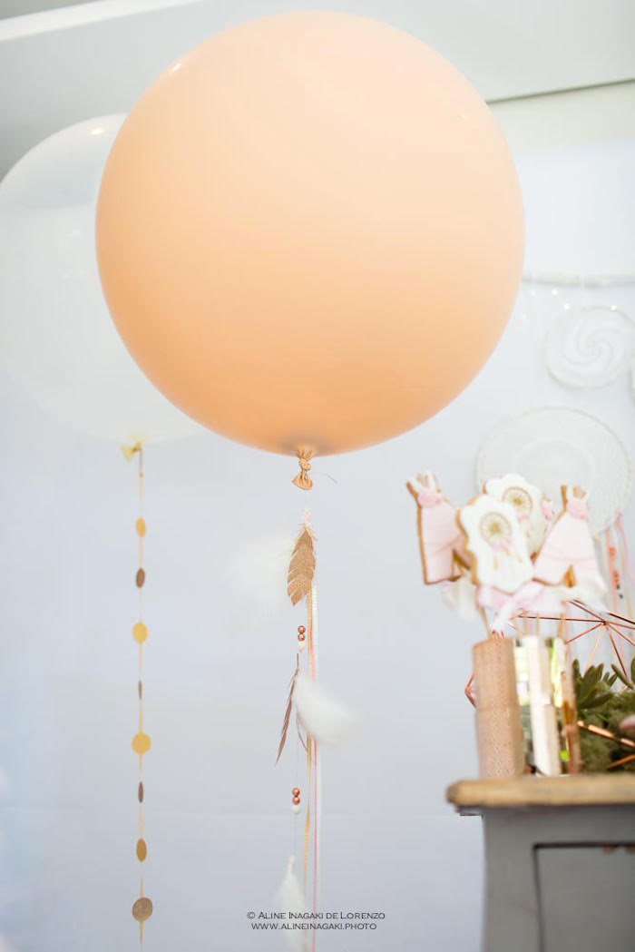 Jumbo balloons with beaded feather + polka dot tails from a Dreamy Dream Catcher Birthday Party on Kara's Party Ideas | KarasPartyIdeas.com (16)