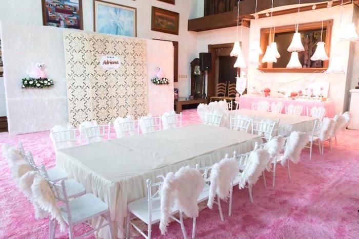 Swan party table from a Dreamy Swan Soiree on Kara's Party Ideas | KarasPartyIdeas.com (24)