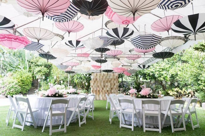 Parasol partyscape + guest tables from a Dreamy Swan Soiree on Kara's Party Ideas | KarasPartyIdeas.com (23)