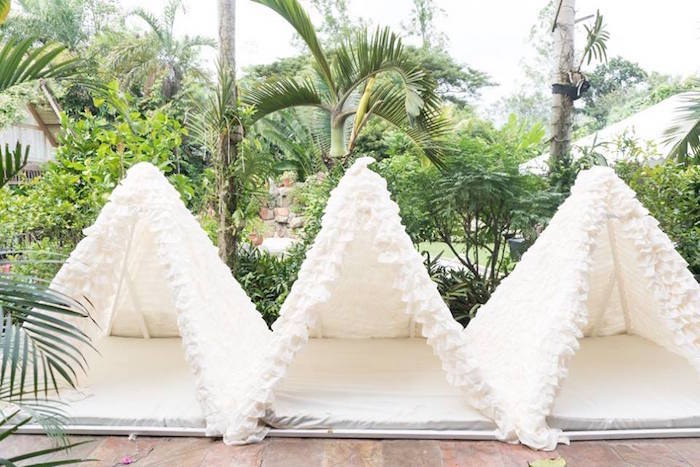 Ruffled tents from a Dreamy Swan Soiree on Kara's Party Ideas | KarasPartyIdeas.com (22)