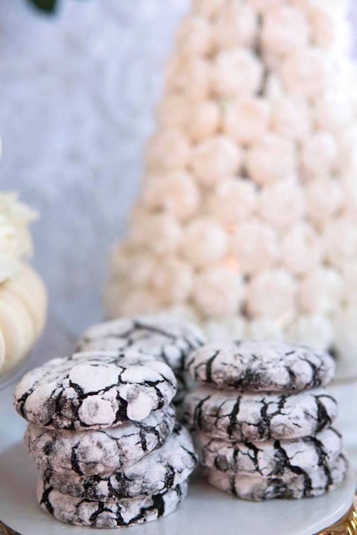 Powdered chocolate cookies from a Dreamy Swan Soiree on Kara's Party Ideas | KarasPartyIdeas.com (21)