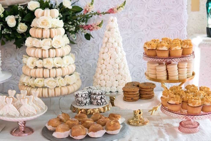 Dessert spread from a Dreamy Swan Soiree on Kara's Party Ideas | KarasPartyIdeas.com (17)
