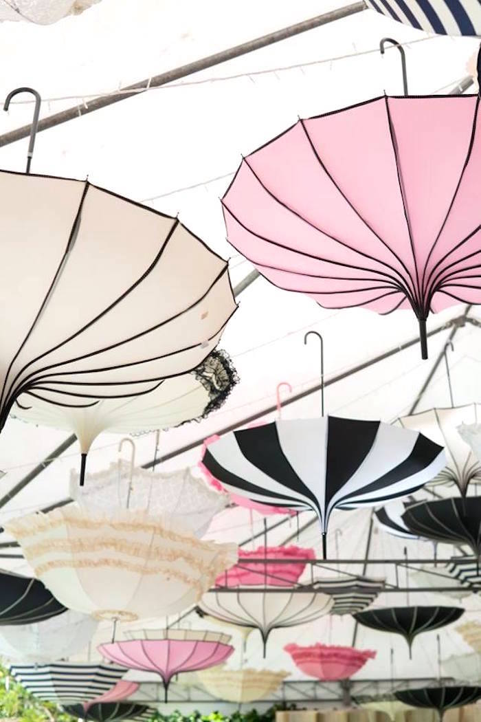 Hanging parasols from a Dreamy Swan Soiree on Kara's Party Ideas | KarasPartyIdeas.com (33)