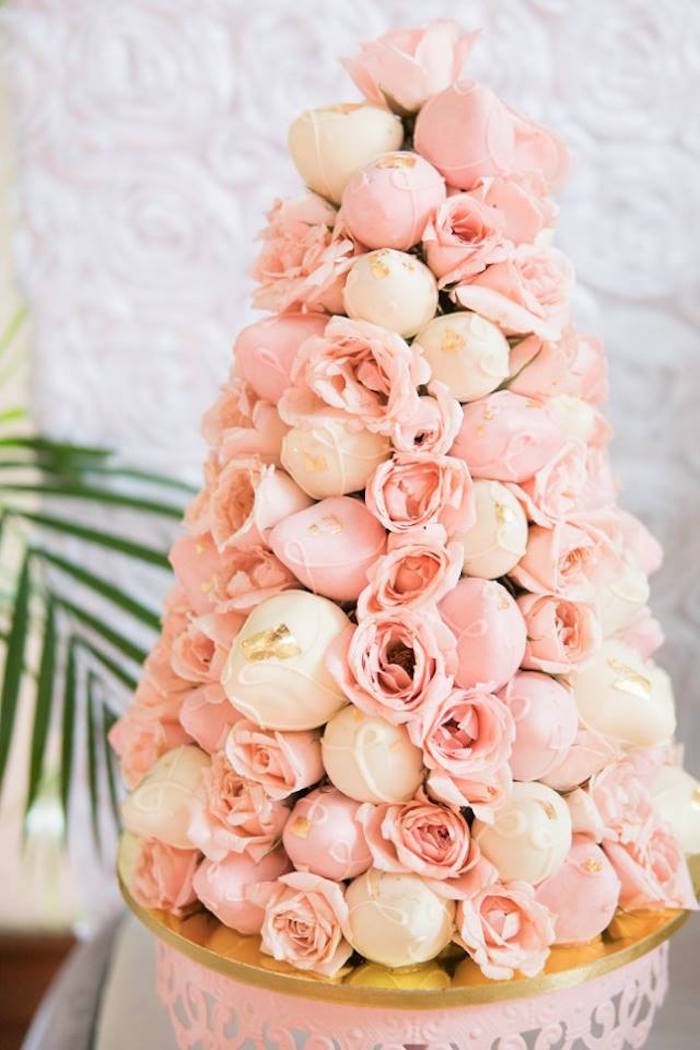 Chocolate covered strawberry tower from a Dreamy Swan Soiree on Kara's Party Ideas | KarasPartyIdeas.com (31)