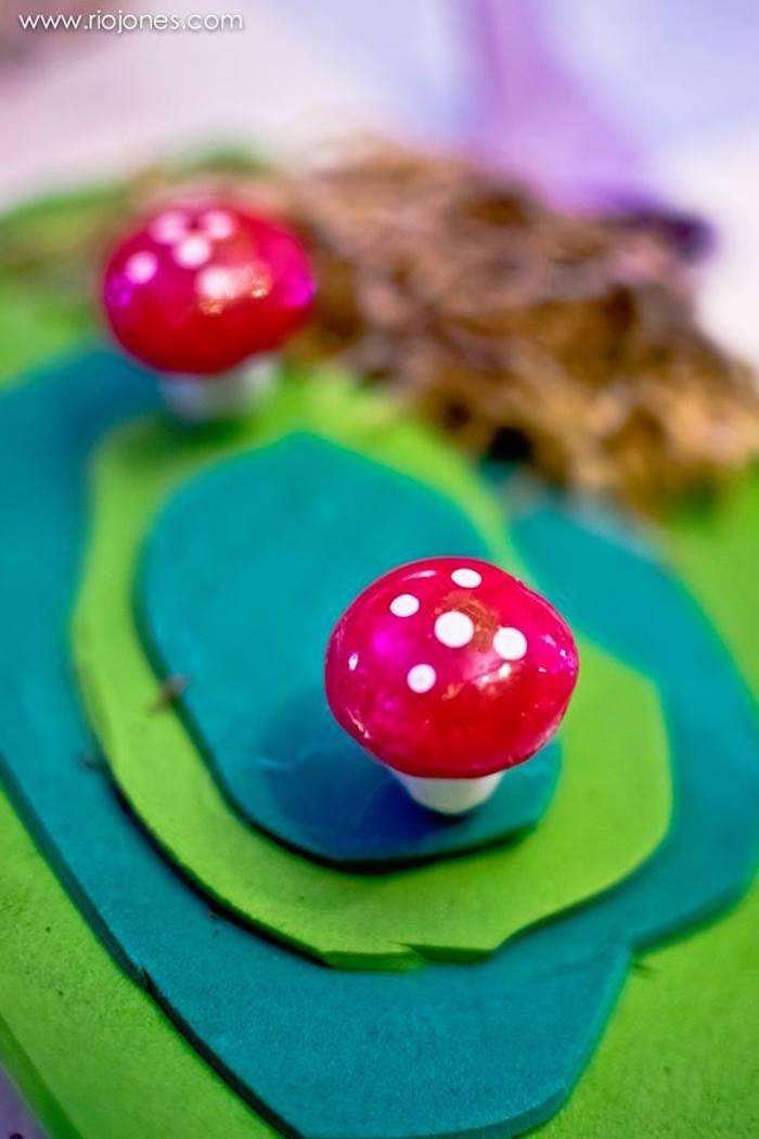 Toadstool centerpiece from an Enchanted Garden Princess Birthday Party on Kara's Party Ideas | KarasPartyIdeas.com (14)