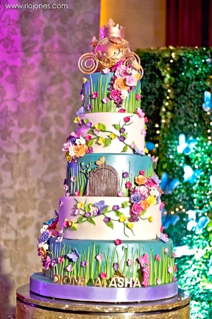 Gorgeous floral garden cake from an Enchanted Garden Princess Birthday Party on Karau0027s Party Ideas |  sc 1 st  Karau0027s Party Ideas & Karau0027s Party Ideas Enchanted Garden Princess Birthday Party | Karau0027s ...