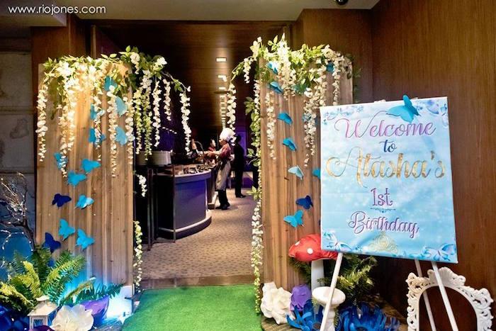 Butterfly entrance from an Enchanted Garden Princess Birthday Party on Kara's Party Ideas | KarasPartyIdeas.com (3)