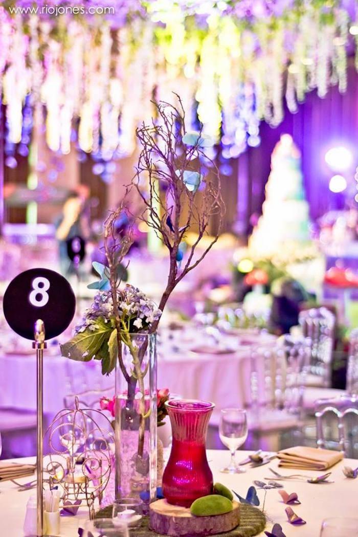Guest table decor from an Enchanted Garden Princess Birthday Party on Kara's Party Ideas | KarasPartyIdeas.com (29)