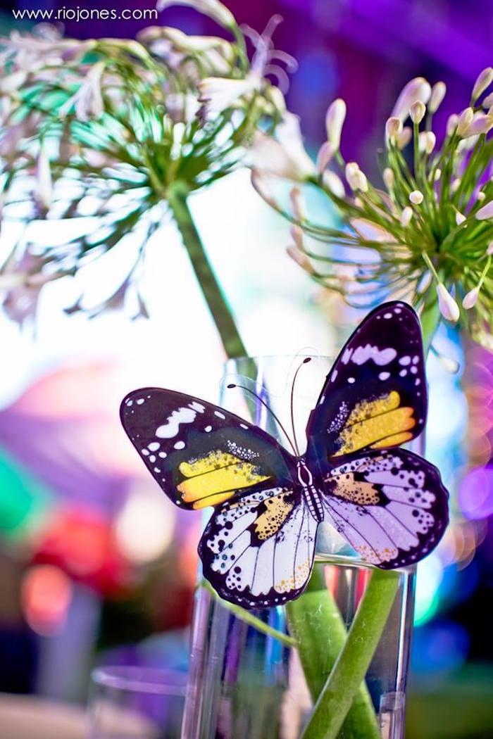 Butterfly + garden centerpiece from an Enchanted Garden Princess Birthday Party on Kara's Party Ideas | KarasPartyIdeas.com (27)