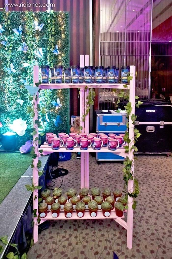 Favor shelf from an Enchanted Garden Princess Birthday Party on Kara's Party Ideas | KarasPartyIdeas.com (25)