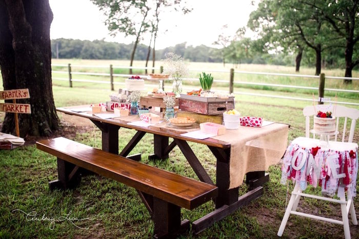 Kids' table from a Farmer's Market Birthday Party on Kara's Party Ideas | KarasPartyIdeas.com (22)