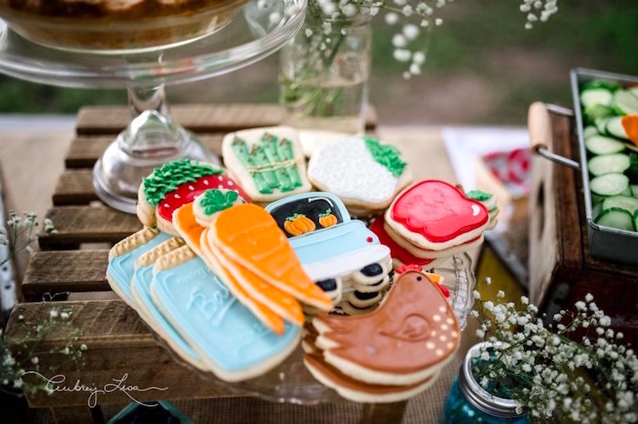 Farm and garden cookies from a Farmer's Market Birthday Party on Kara's Party Ideas | KarasPartyIdeas.com (13)