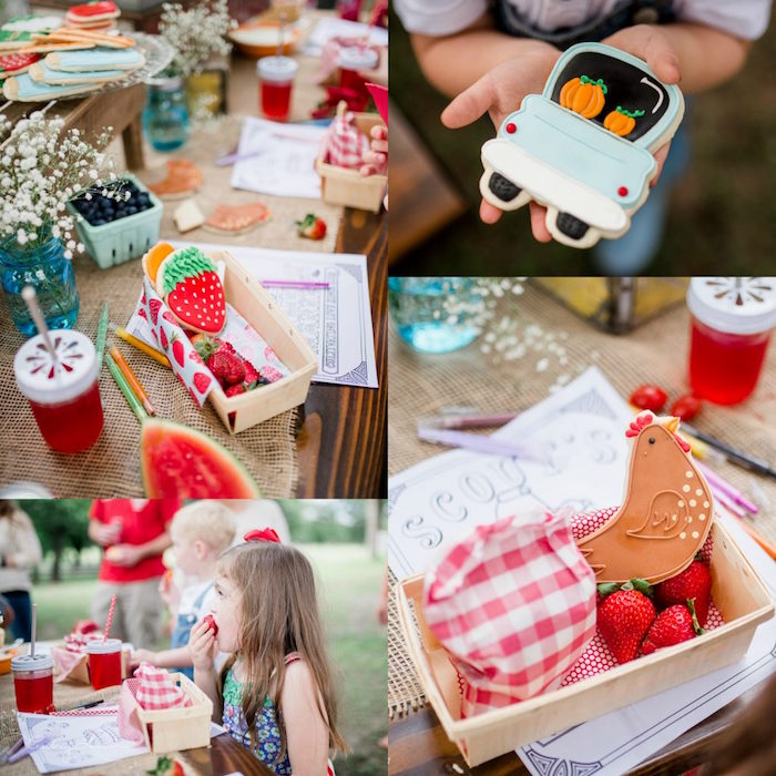 Kids' table from a Farmer's Market Birthday Party on Kara's Party Ideas | KarasPartyIdeas.com (36)