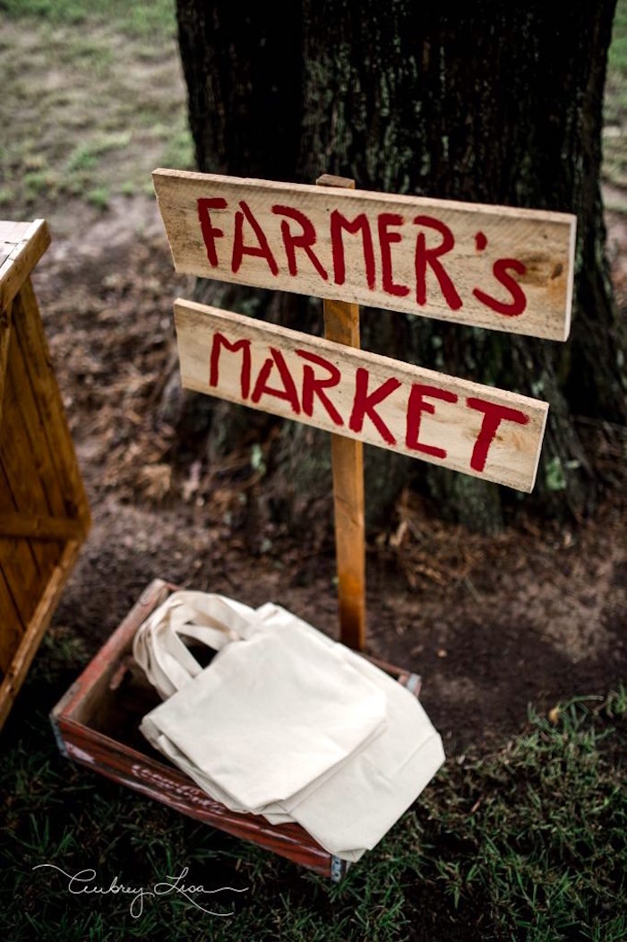 Wooden sign + favor bags from a Farmer's Market Birthday Party on Kara's Party Ideas | KarasPartyIdeas.com (32)