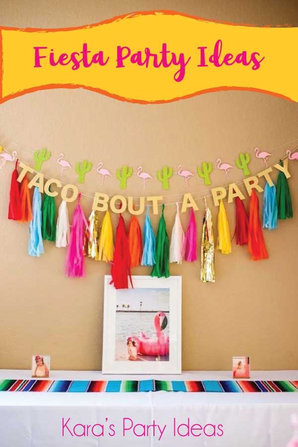 "Fiesta party table with ""Taco Bout a Party"" Banner and Fringe Banner 