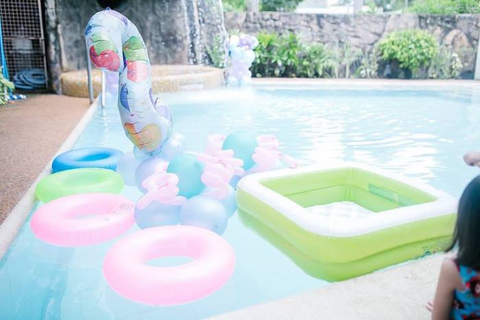 Pool & floaties from a Finding Dory Birthday Pool Party on Kara's Party Ideas | KarasPartyIdeas.com (8)