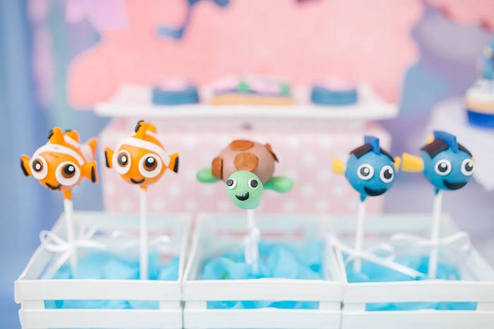 Finding Dory Cake Pops from a Finding Dory Birthday Pool Party on Kara's Party Ideas | KarasPartyIdeas.com (19)