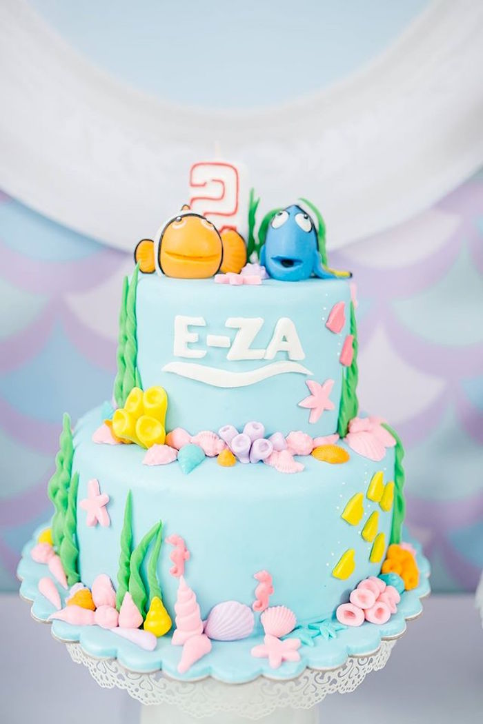 Finding Dory Cake from a Finding Dory Birthday Pool Party on Kara's Party Ideas | KarasPartyIdeas.com (18)