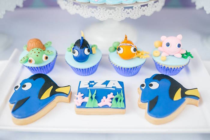 Dory cookies and cupcakes from a Finding Dory Birthday Pool Party on Kara's Party Ideas | KarasPartyIdeas.com (15)