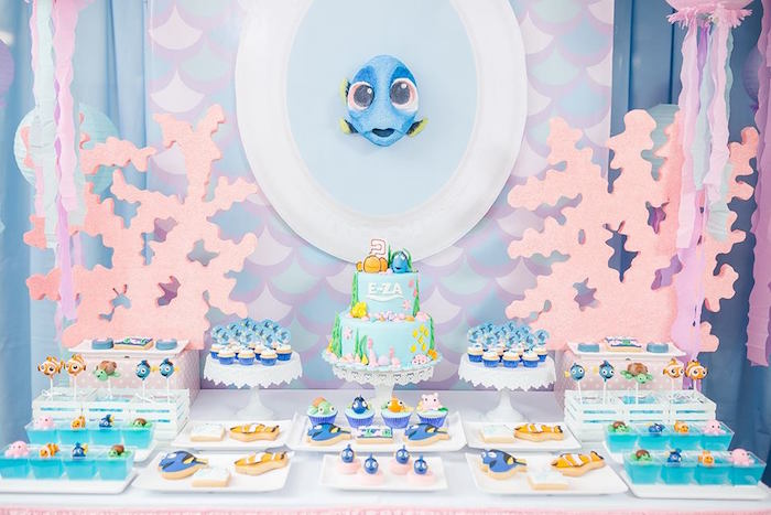 Dory dessert spread from a Finding Dory Birthday Pool Party on Kara's Party Ideas | KarasPartyIdeas.com (14)