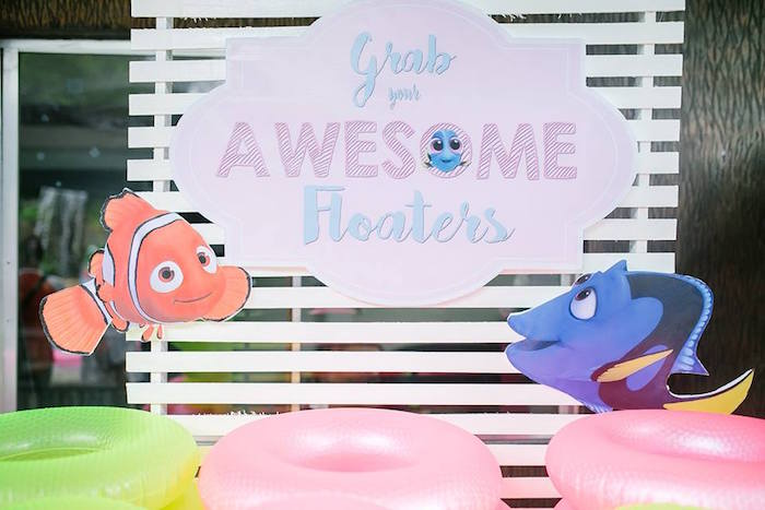 Backdrop from a Finding Dory Birthday Pool Party on Kara's Party Ideas | KarasPartyIdeas.com (12)