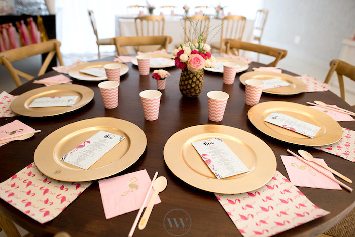 Guest table from a Flamingos and Pineapples Tropical Birthday Party on Kara's Party Ideas | KarasPartyIdeas.com (11)