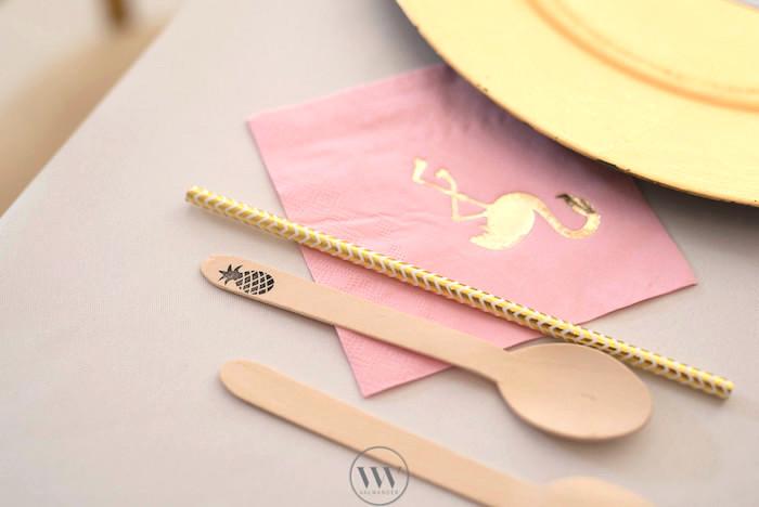 Flamingo napkins + pineapple spoon from a Flamingos and Pineapples Tropical Birthday Party on Kara's Party Ideas | KarasPartyIdeas.com (9)