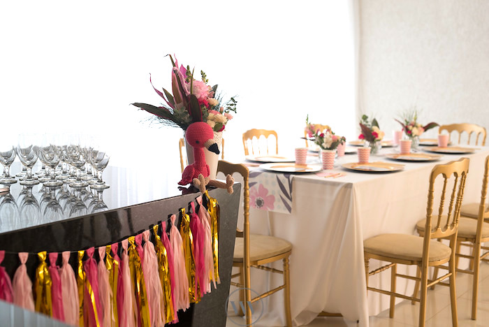 Party tables from a Flamingos and Pineapples Tropical Birthday Party on Kara's Party Ideas | KarasPartyIdeas.com (8)