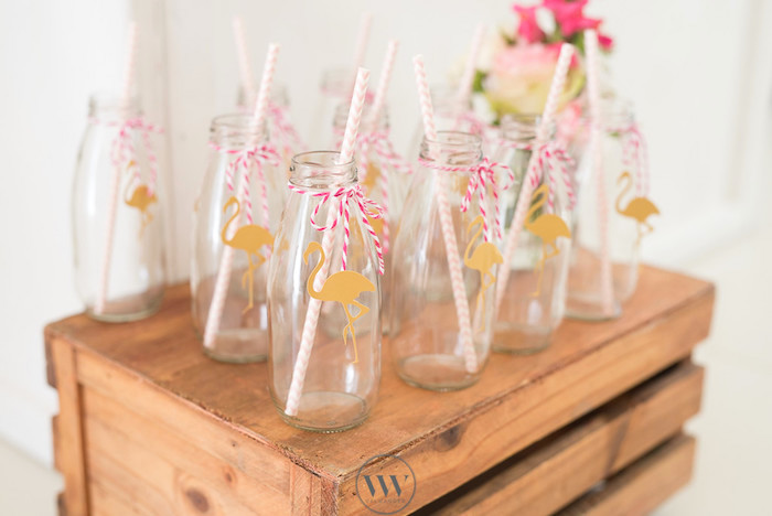 Flamingo drink bottles from a Flamingos and Pineapples Tropical Birthday Party on Kara's Party Ideas | KarasPartyIdeas.com (7)