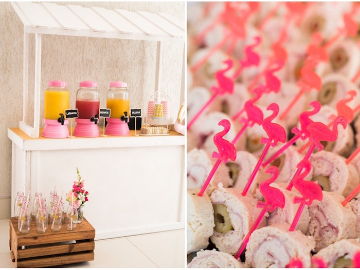 Beverage table + flamingo sandwich rolls from a Flamingos and Pineapples Tropical Birthday Party on Kara's Party Ideas | KarasPartyIdeas.com (4)