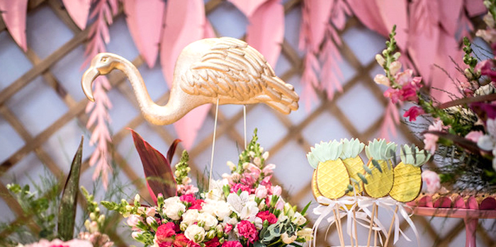Flamingos and Pineapples Tropical Birthday Party on Kara's Party Ideas | KarasPartyIdeas.com (1)