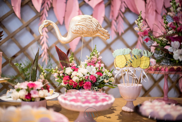 Flamingo party table from a Flamingos and Pineapples Tropical Birthday Party on Kara's Party Ideas | KarasPartyIdeas.com (18)