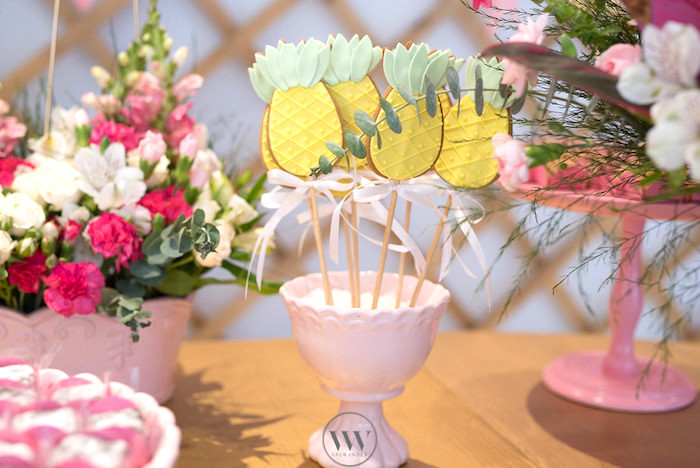 Pineapple cookie pops from a Flamingos and Pineapples Tropical Birthday Party on Kara's Party Ideas | KarasPartyIdeas.com (15)