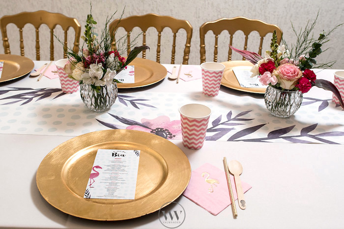 Guest tablescape from a Flamingos and Pineapples Tropical Birthday Party on Kara's Party Ideas | KarasPartyIdeas.com (13)