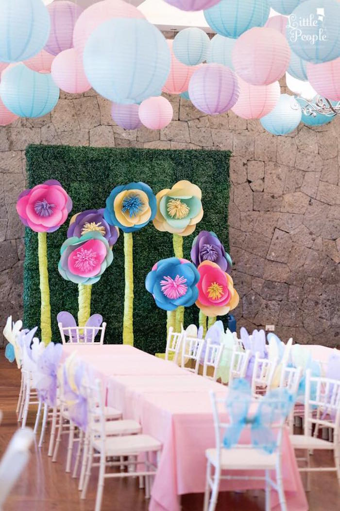 Standing paper flowers from a Flitting Fairy Garden Birthday Party on Kara's Party Ideas | KarasPartyIdeas.com (9)