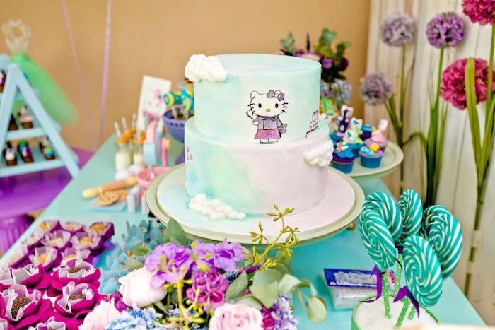 Hello Kitty cake from a Floral Hello Kitty Birthday Party on Kara's Party Ideas   KarasPartyIdeas.com (25)